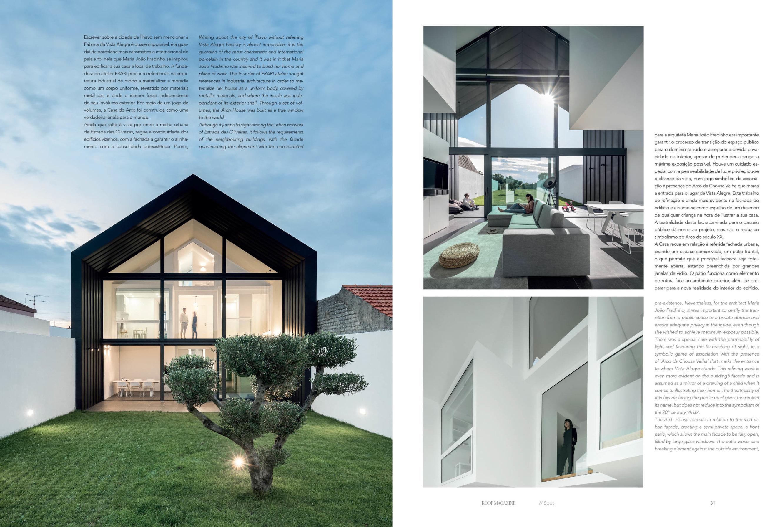 Revista Roof Magazine Publicação Do Projeto Casa Do Arco Do At do fotografo Ivo Tavares Studio