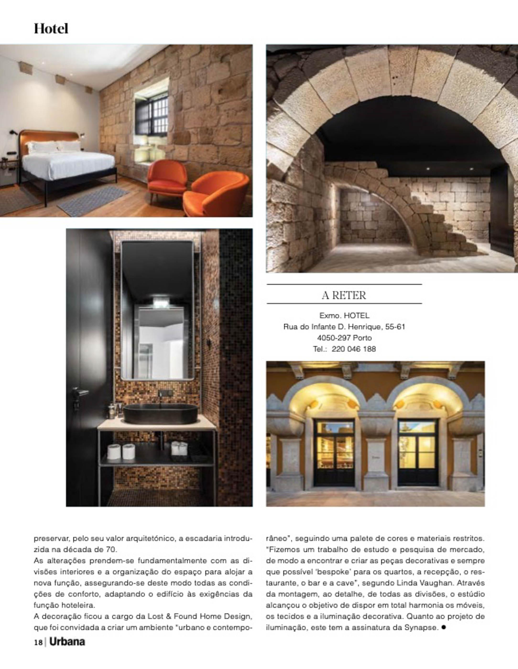 Exmo Hotel no Porto do atelier Floret Arquitectura publicado na revista Urbana com fotografia de arquitetura Ivo Tavares Studio