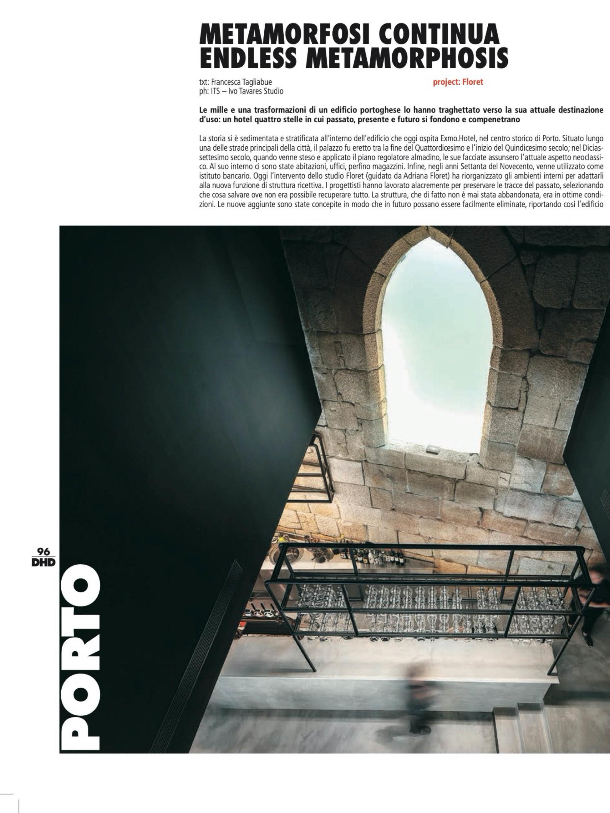 Exmo Hotel no Porto do atelier Floret Arquitectura publicado na revista Hotel Design Diffusion com fotografia de arquitetura Ivo Tavares Studio